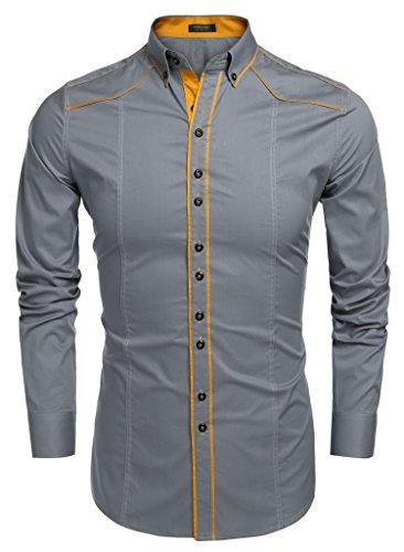 Aulei herren Hemd slim fit kontrastfarbene Linien cooler Stil Bügelleicht Grau