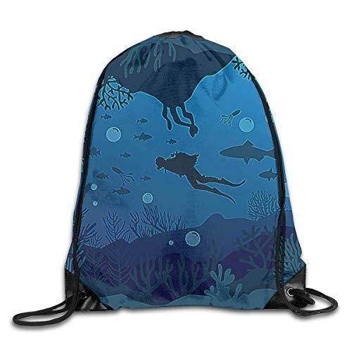 ZHIZIQIU Drawstring Bags Bulk Scuba Diving Silhouette Drawstring Backpack Bag Shoulder Bags Bag for Adult Size: 4133cm