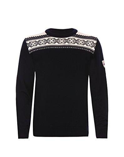 Hemsedal Sweater Men's überarbeitete Wool Sweater Blau Navy Melange/Off-White X-Large (Wool Nordic Pullover)
