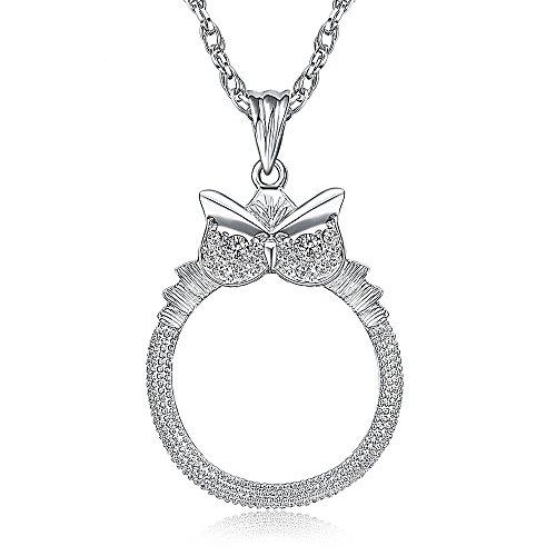 ZCXCC Leseglas Lupen Pullover Kette Dekorationen Ornamente Kleidung Halskette Alter Mann Lesen Zeitung Lesen Lupe 2.5X,Silver (Antiquitäten Halskette)
