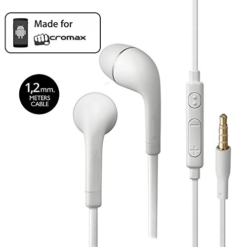 Micromax A102 Canvas Doodle 3 Compatible Earphone / Handsfree In Ear Headphones with 3.5mm jack - White