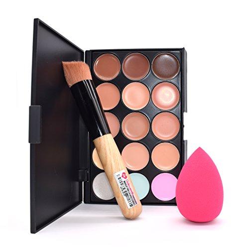 Dolovemk visage Maquillage de contour Palette Correcteur + Brosse + Big éponge sans latex