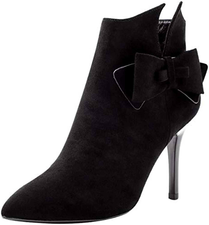 HBDLH Chaussures pour Femmes/Pointe Talon Minces De 10 La Cm La 10 Hauteur du Talon Bottes Canon Court Velours Arc Martin... ff9f99