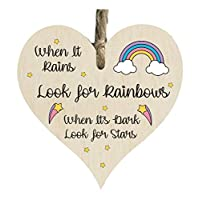 the grafix studio When It Rain Rainbow Stars Quote Wooden Heart Shape Plaque Gift Sign htc18
