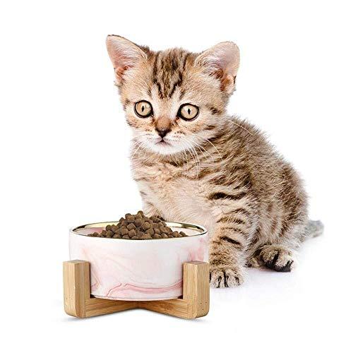 Pet Bowls Keramik-Hundenapf, Tiernahrung und Wassernäpfe mit rutschfestem Holzständer, spülmaschinenfestem, haltbarem Steingutbehälter for Hunde und Katzen (Color : Pink with Gold Rim) Pink Rim