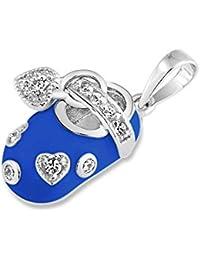 Bling Jewelry CZ Corazón Encanto Esmalte azul Bebé colgante de zapata