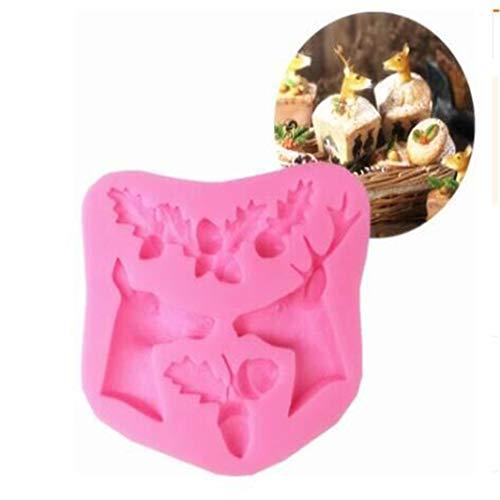 (Underleaf 3D Weihnachten Elch Hirsch Eichel Blätter Fondant Silikonform Seife Kuchen Backformen Kuchen Dekorieren Tools)