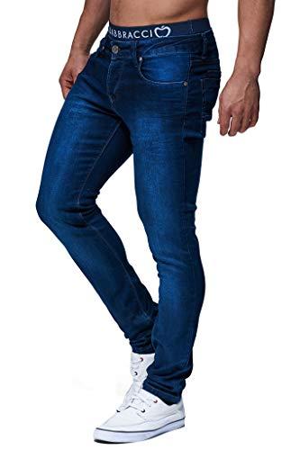 Leif Nelson Herren Jeans Hose Slim Fit Denim Blaue graue Lange Jeanshose für Männer Coole Jungen weiße Stretch Freizeithose Schwarze Cargo Chino Sommer Winter Basic LN301 Blau W33/L32