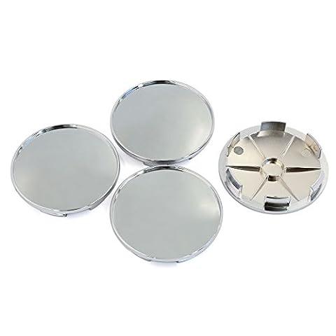 sourcingmap® 68mm Chrome Car Tyre Hood Emblem Auto Wheel Center Hub Cap Cover 4 Pcs