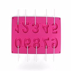 Qinlee Zahlen-Backformen aus Silikon 10 Formen mit den Zahlen 0-9 Schokolade Verzierung Silikon Gießform Fondant Kuchen Form