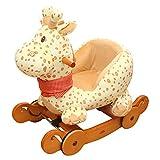labebe 2 in 1 Plüsch Rocker mit Rad - Gelbe Giraffe, hölzernes Schaukelpferd für Kinder 1,2,3 Jahre, Geschenk für Kinder