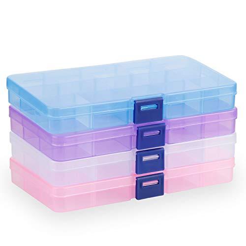 Plastik Aufbewahrungsbox, innislink Sortierbox Sortimentsboxen Einstellbar Fächer für die Schmuck, Perlen und andere Mini waren Sortierkästen Schmuckschatulle Werkzeugcontainer - 15 Raster x 4 Farben (Kunststoff-knopf, Muttern)