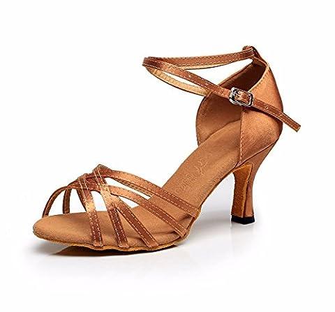JINGXINSTORELes chaussures de danse salsa latine Sandales Satin Bronze intérieur professionnel 36