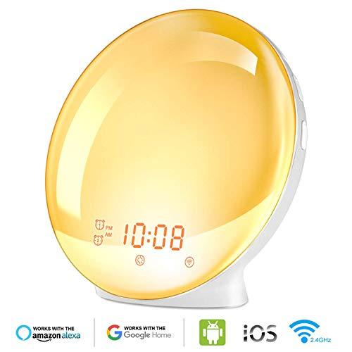 HoMii Wecker Licht Lichtwecker, kompatibel mit Alexa und Google Home, intelligentes Licht, 7 farbige Sonnenaufgangssimulation und mit verblassendem Sonnenuntergang, UKW-Radio,USB-Ladeanschluss