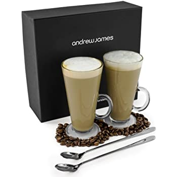 Andrew James Pair of Traditional Latte Glasses with Long Handled Spoons in Presentation Gift Box for Coffee, Hot Chocolate, Mocha, Cuppuccino etc.