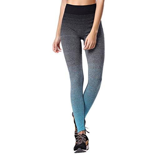 Vertvie Femme Leggings de Sport Pantalon Collant Stretch Extensible pour Yoga Fitness Jogging Bleu
