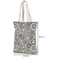 Rucksack Riemen aus dicker Baumwolle zum Ausmalen weiß und schwarz DIY, 35x 40cm, zu verschönern