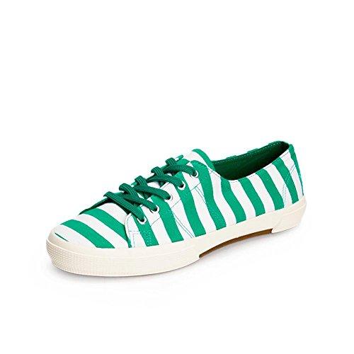Ocasional Topo Atléticas Senhoras M Verde Tênis Lona Fundo Plano sapatos amp; strip Lace up Baixos Coração Skate wHxPIP