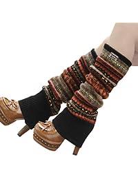Calentadores grueso de punto jaqucard, hasta la rodilla, para mujer, niña, 1 par, cálido, tejido suave, acrílico, elástico, negro