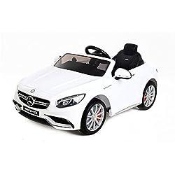 Babycoches - Coche eléctrico para niños Mercedes Benz S63, con LICENCIA OFICIAL, con mando a distancia para control parental, 12V, color blanco