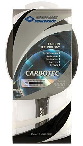Donic-Schildkröt Tischtennisschläger CarboTec 3000, 50% Carbon, 2,1 mm Schwamm, Engery QRC - ITTF Belag, konkav, 758214