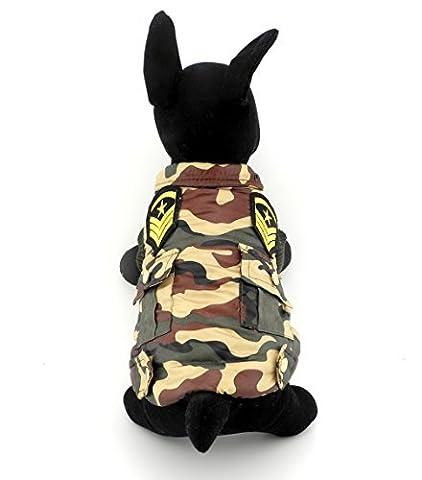 Ranphy Petit Animal Chien Chat Vêtements Camouflage militaire uniforme Veste matelassée Manteau résistant à l'eau Vert