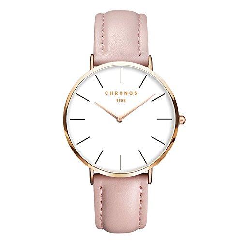 Mode Klassisch Unisex Damenuhren Herrenuhren PU Lederband Analog Armbanduhren für Männer Frauen, Rosa