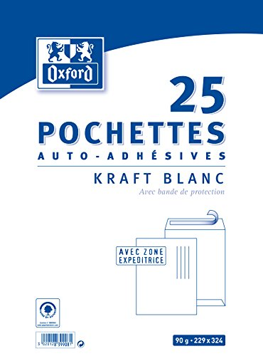 Oxford Pack de 25 pochettes auto-adhésives 229x324mm kraft blanc