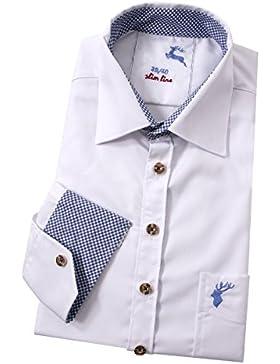 Top-Quality - Trachtenhemd Herren Langarm SLIM FIT - Hirsch - Komfort in Baumwolle - Weiß/Blau