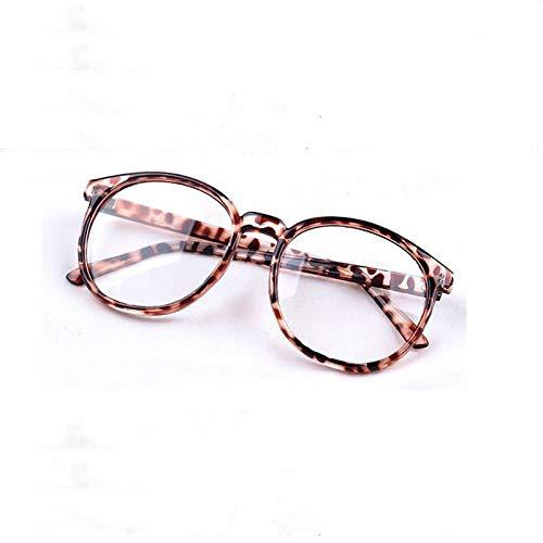 YMTP Frauen Männer Runde Retro Leopard Dekorative Gläser Rahmen Plain Spiegel Optische Linse Brillen
