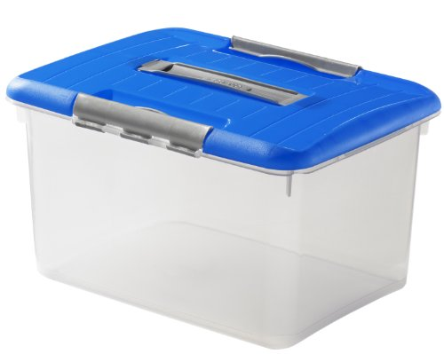 CURVER 00032-376-00 Transportbox Optimabox - L, 15 L, transparent/blau/Silber