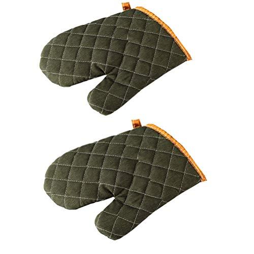 368° inspiration Ofenhandschuh 2 stücke Mikrowelle Handschuhe Backen Kochen Verbrühschutz Wärmedämmung Küche Handschuhe Handschuhe for Restaurant Bar Home (Color : Green) (Ofen-mikrowelle-regal über)