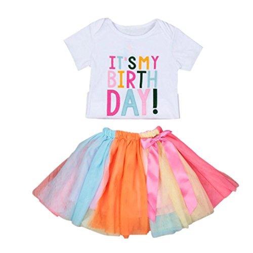 Bekleidung Longra Baby Kinder-Mädchen-Mode Geburtstag Stickerei Kurzarm T-Shirt-Kleid + Regenbogen Tutu Rock Set Outfits Kleidung Kleider Sommerkleid (0-5Jahre) (120CM 5Jahre, White) (Shirt Geburtstag Bögen)