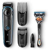 Braun BT3040 - Barbero para barba, recortador de Barba/cabello para hombre con maquinilla Gillette Fusion ProGlide, negro/azul