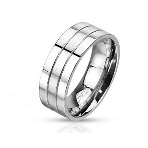 Bungsa 57 (18.1) Ring Silber dreireihig für Damen und Herren Edelstahl hochglanzpoliert (Ring Damen Fingerring Partnerringe Verlobungsringe Trauringe Damenring Edelstahlring Chirurgenstahl)
