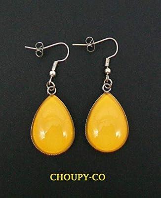 Boucles d'oreilles pendantes forme gouttes * jaune moutarde * couleur unie argenté cabochon en verre boucles longues bijoux jaunes fantaisie femme idée cadeau anniversaire fêtes.