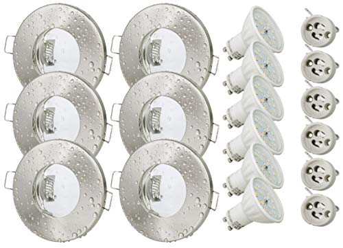 6er Set Bad Einbaustrahler Aqua IP65 Dusche Badezimmer 5Watt GU10 230Volt Leuchtmittel Warmweiss 430Lumen Strahlwassergeschützt