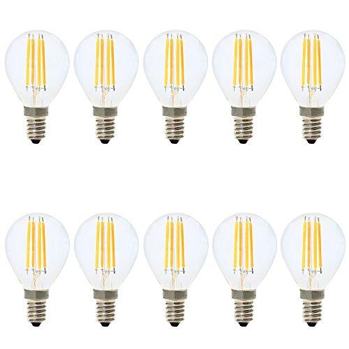 10er-Pack E14 Dimmbar LED Leuchtmittel Tropfenform 4W,LED Filament Glühlampen,Warmweiß 2700K,AC 220V