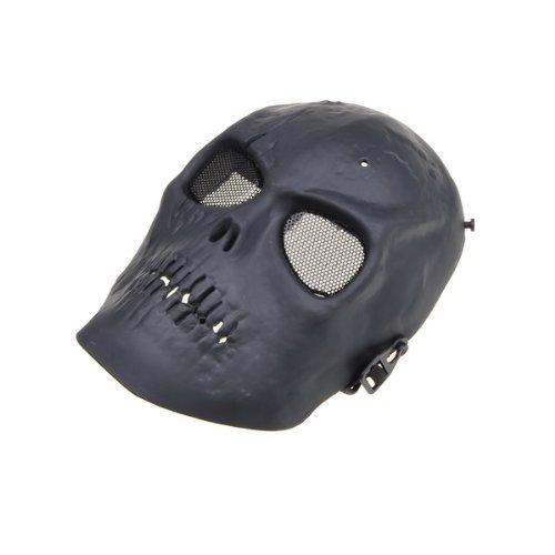 Black Skull Skeleton Army Airsoft Paintball BB Gun Full Face Game Protect Mask for Airsoft Hunting Wargame and All Military Purpose