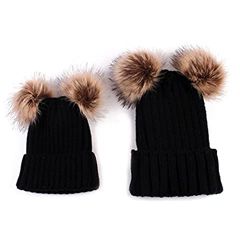 PanDaDa 2PCS Elternteil Kind Hut Familien Zusammenpassende Hüte Kleinkind Beanie Knit Kappe Warmes Earflap (Earflap Knit Cap)
