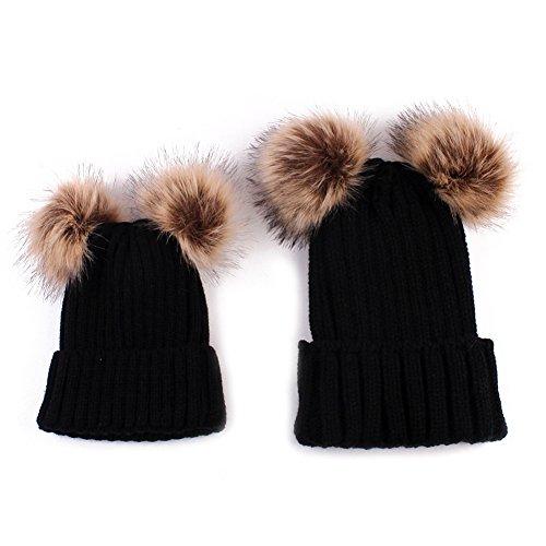 PanDaDa 2PCS Elternteil Kind Hut Familien Zusammenpassende Hüte Kleinkind Beanie Knit Kappe Warmes Earflap Hut