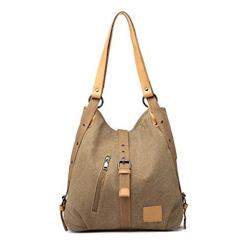 Kono Damen Canvas Handtasche Rucksack Frauen Schultertasche 3 in 1 Shopper Tasche Vintage Hobo Tasche für Arbeit Schule Reise (Khaki)