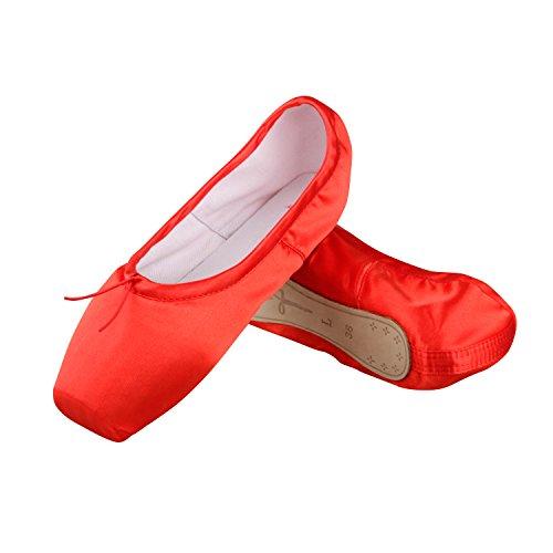 Ballet Spitzenschuhe Mädchen Satin Ballettschuhe Damen Tanzschuhe mit spitzenschoner und spitzenschuh,Bitte wählen Sie eine Größe mehr als üblich Rot EU 34 (Band Rot Schuhe)