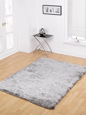 Large Modern Contemporary Silky Shaggy Soft Touch & Feel Grey Silver Rug in 120 x 170 cm (4' x 5'6'') Carpet by Lord of Rugs - low-cost UK light shop.