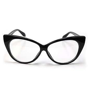Boolavard® TM Lunettes Monture style oeil de chat Wayfarer Geek Retro Vintage 80's - Monture Noir - Verres Neutre Transparent - Fashion - Tendance
