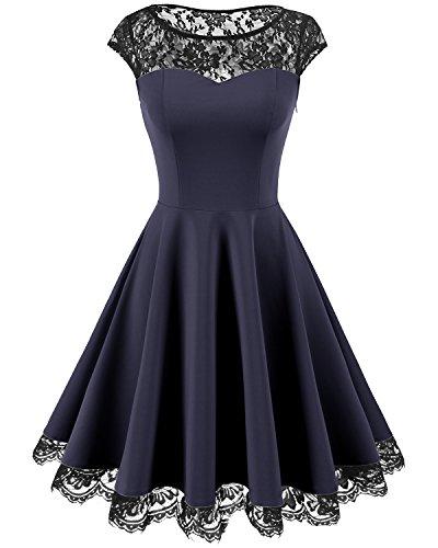 Homrain Damen 1950er Elegant Spitzenkleid Rundhals Knielang Festlich Cocktail Abendkleid Navy XL