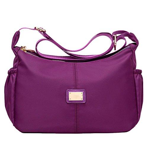 Messenger Bag Nylon Frauen Wasserdichte Niedliche Tasche Handtaschen Purple