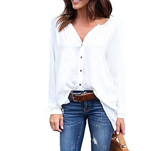 KEERADS Chiffon Blusen Damen Elegant Asymmetrisch Langarm Tops Oberteile Hemd (5XL, Weiß)