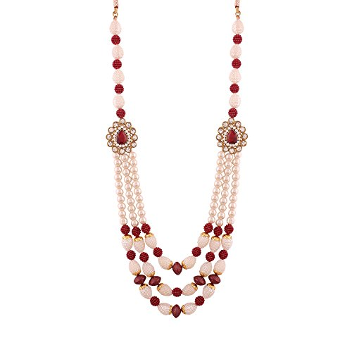 I Jewels Red Gold Plated Moti Mala for Men