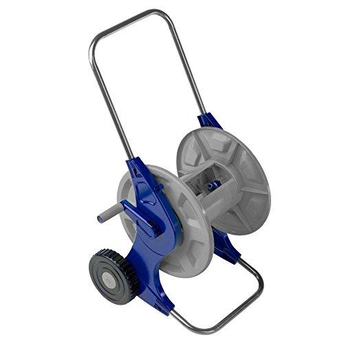 """Tatay 42201 Carro Trolley portamangueras con Ruedas para mangueras de hasta 60 m, con enrollador, Conector 3/4\"""" plástico Anti-UV, Azul, 47,7 x 46 x 90 cm"""